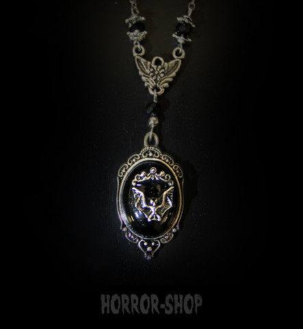 Vampire bat came necklace, small