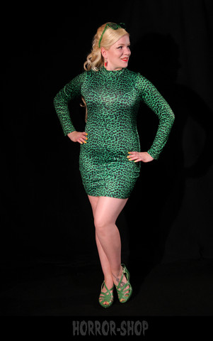 Green leopard spandex dress