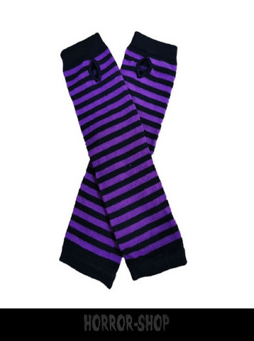 Black and purple striped fingerless long wristband