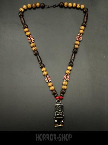 Tiki statue necklace, brown