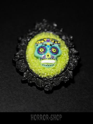 Sugarskull brooch, black, Lime green (2)