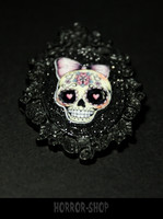 Sugarskull brooch, black, pink hairdecoration (3)