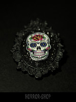 Sugarskull brooch, black, rosehead (3)