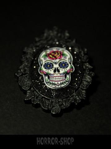 Sugarskull brooch, black, rosehead (3)