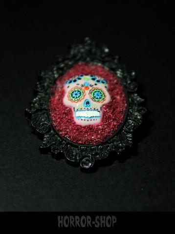 Sugarskull brooch, black, pink skull (5)