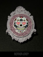 Sugarskull brooch, lila (6)