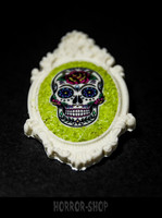 Sugarskull brooch,  white and rose (8)