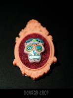 Sugarskull brooch,  Salmon red (9)