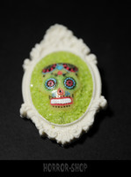 Sugarskull rintaneula, White and lemon (11)