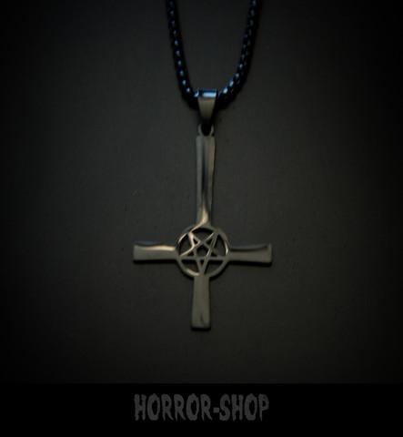 Black cross with pentagram Necklace, true black