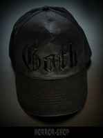 Goth cap with black text