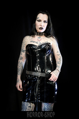 PVC dress, black and with buttons and cords