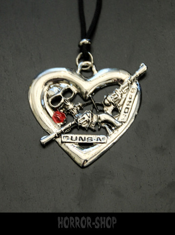 Guns and Roses heart Necklace
