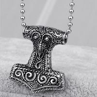 RAVEN HEAD THOR HAMMER, small titanium pendant