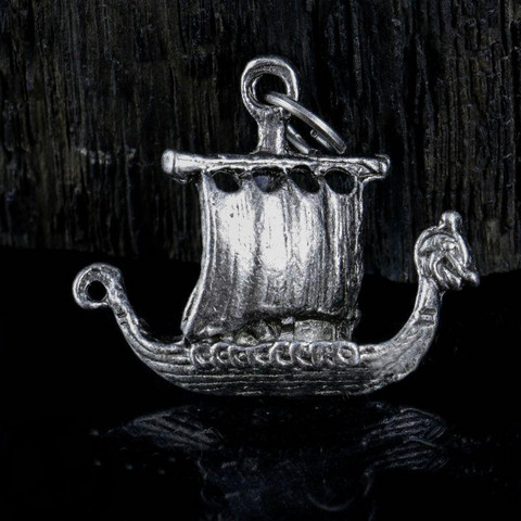 DRAKKAR, Viking dragon boat, tin pendant