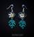 Tiki orchid earrings, black/pair