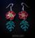 Tiki orchid earrings, red/pair