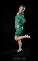 Green leopard spandex dress