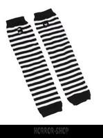 Black and white striped fingerless long wristband
