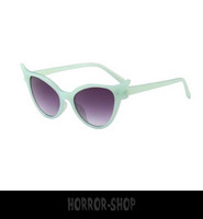 Lime Green/glass retro cat eye sunglasses