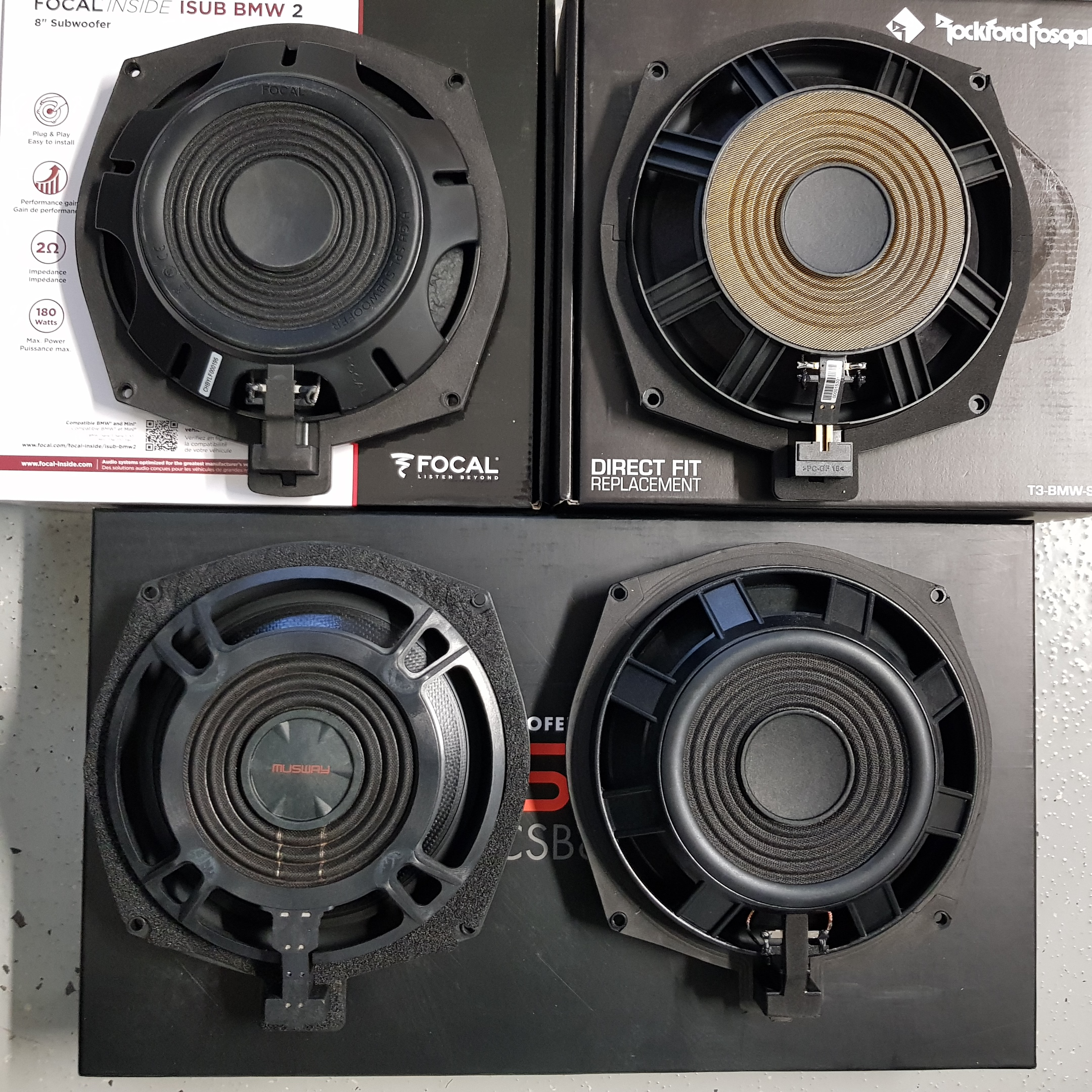 BMW subivertailu 2; Focal Isub, Musway, Audio System, Rockford Fosgate, AI-Sonic