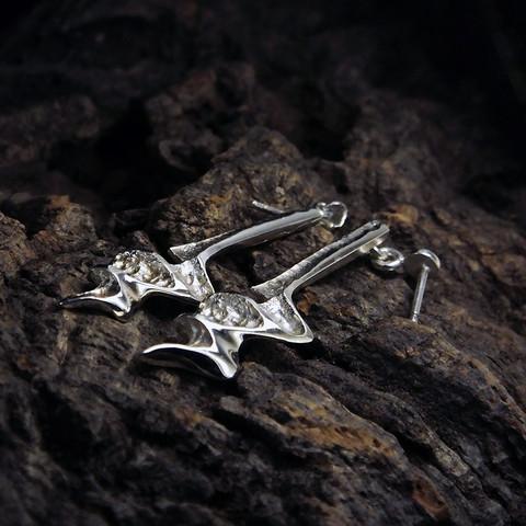 Vintage silver earrings Blue Lightning