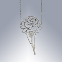 Silver necklace  A Rose for Mother's Day