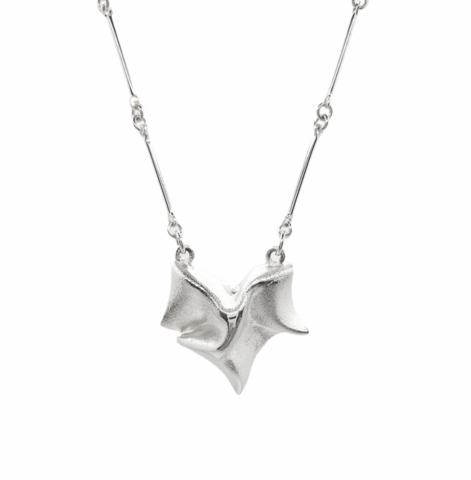 Vintage silver pendant Falling Leaf