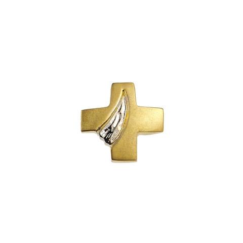 Kultainen risti valkokultaisella koristeella