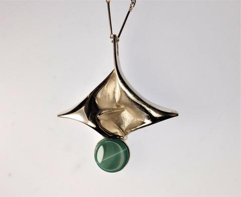 Modernist silver necklace Swan