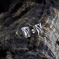 Vintage silver earrings Folded Forms