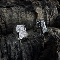 Vintage silver earrings Windforms in Snow