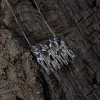 Vintage silver pendant Frosty Lichen