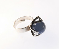 Vintage silver ring with blue agate ball