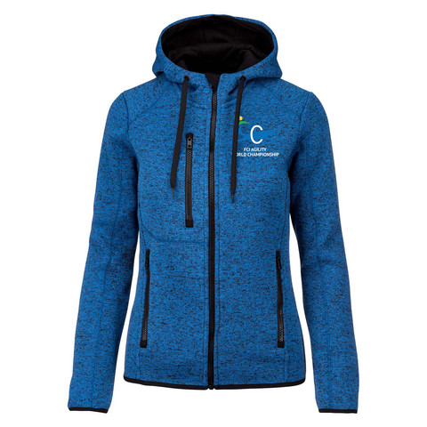 LADIES' HEATHER HOODED JACKET ROYAL BLUE MELANGE