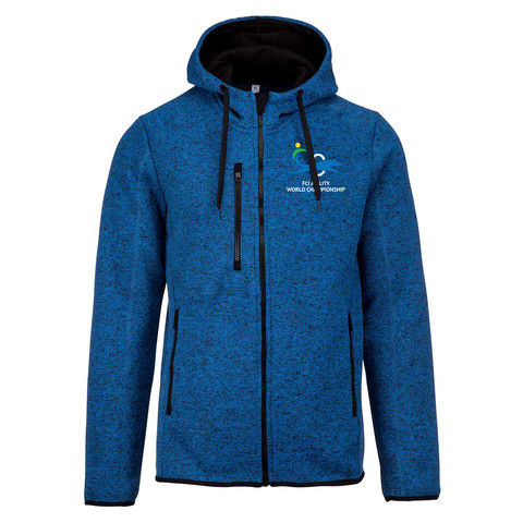MENS' HEATHER HOODED JACKET BLUE MELANGE