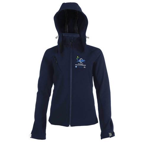 Ladies` Hooded Softshell Jacket Navy