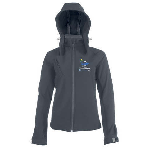 Ladies` Hooded Softshell Jacket Titanium