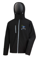 Mens` hooded Core Softshell Jacket Black/Grey