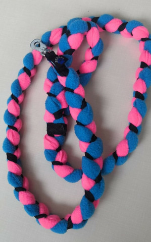Fleece leash 160 cm BGB Pink-Turquoise Blue-Black
