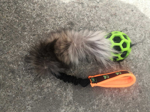 BERRA Ultimate bungee toy with real fur green  ball orange handle