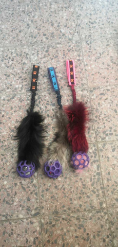 BERRA Ultimate bungee toy with real fur with lilac ball