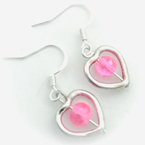 sydänkorvakorut pinkkihelmi
