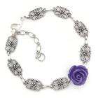 ruusurannekoru hopea /  violetti