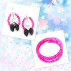 Pinkit korvakorut rusetilla & pinkki rannekoru