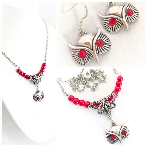 pöllökorvakorut & pöllökaulakoru punainen helmi