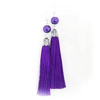 tasseli korvakorut helmellä violetti