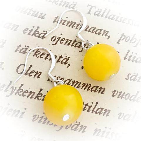 lasihelmikorvakorut  keltainen 12mm