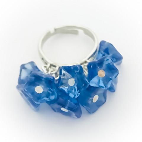 10 kukan sormus sininen väri