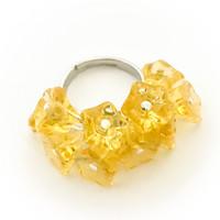 10 kukan sormus keltainen väri